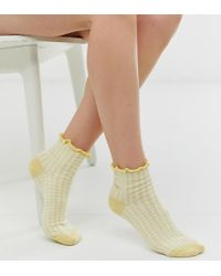 Jonathan Aston - Gingham Ankle Socks In Yellow - Lyst
