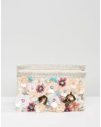 Park Lane - Floral Embellishment Clutch Bag - Lyst