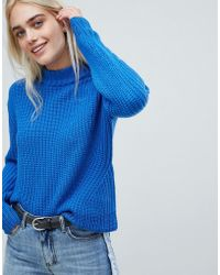 Pieces - High Neck Ribbed Jumper - Lyst