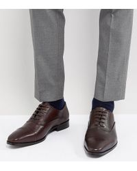Dune - Wide Fit Toe Cap Derby Shoes In Brown Leather - Lyst