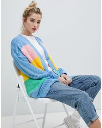 Daisy Street - Relaxed Chunky Knit Cardigan In Stripe - Lyst
