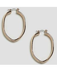 ASOS - Oval Ridged Hoop Earrings - Lyst