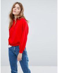 New Look - Raglan Crop Hoody - Lyst