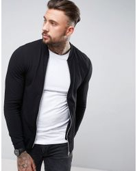 ASOS - Muscle Fit Jersey Bomber Jacket In Black - Lyst