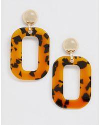 Monki - Rectangular Drop Earrings In Tortoise - Lyst