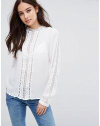 Vila - Lace Insert Shirt - Lyst