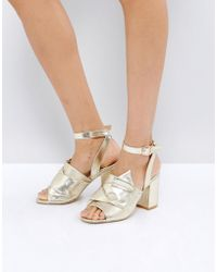 Park Lane - Oversized Knot Front Heel Sandal - Lyst