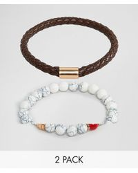 ALDO - Faux Leather & White Beaded Bracelet In 2 Pack - Lyst