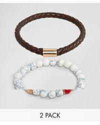 ALDO - Faux Leather & White Beaded Bracelet In 2 Pack - Lyst