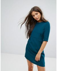 Traffic People - 3/4 Sleeve Shift Dress With Pocket Detail - Lyst