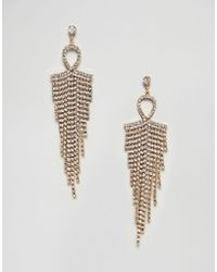 Nylon | Rhinestone Tassel Drape Earrings | Lyst