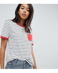 ASOS - Asos Design Tall Stripe T-shirt With Contrast Pocket And Contrast Binding - Lyst