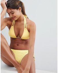 DORINA - Yellow Triangle Crochet Bikini Top - Lyst