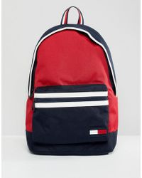 Tommy Hilfiger - Nylon Backpack Icon Colours In Red/navy/white - Lyst