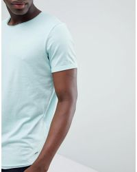 Esprit - Longline T-shirt With Raw Curved Hem In Mint Green - Lyst