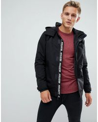 Hollister - Hooded Midweight Parka Jacket Contrast Detail Seagull Logo In Black - Lyst