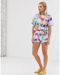 Monki - Shorts With Drawstring Detail In Rainbow Tie Dye - Lyst