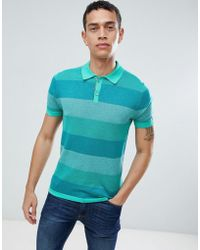 Benetton - Knitted Polo In Bold Stripe - Lyst
