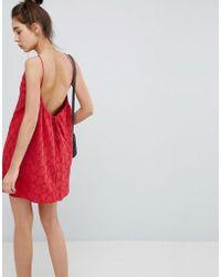 ASOS DESIGN - Low Back Mini Sundress In Heart Broderie - Lyst
