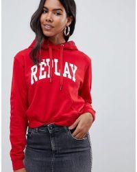 Replay - Logo Cropped Hoodie - Lyst