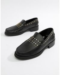 ASOS - Loafers In Black Leather With Studding Detail - Lyst