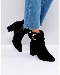 Glamorous - Glamorus Black Velvet D-ring Heeled Ankle Boots - Lyst