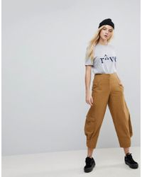 ASOS | Margot High Waist Canvas Trousers In Tan | Lyst