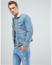 Jack & Jones - Intelligence Denim Jacket With Full Borg Lining - Lyst