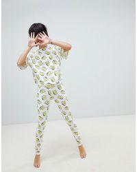 ASOS - Design Waving Avocado Legging And Boxy Tee Pyjama Set - Lyst