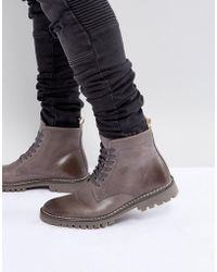 ASOS - Lace Up Boots In Grey Leather With Cleated Sole - Lyst