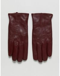 ASOS - Leather Gloves In Burgundy - Lyst
