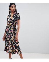 Mango - Vestido midi con botones y mezcla de flores - Lyst