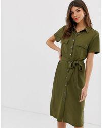 Vila - Utility Button Through Midi Shirt Dress In Khaki - Lyst