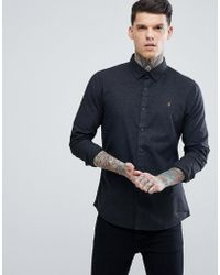 Farah | Steen Slim Fit Brushed Oxford Weave Shirt In Coal | Lyst