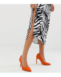a80ee704ff32 ASOS - Porto Pointed High Heeled Court Shoes In Tangerine - Lyst