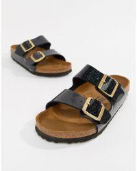 Birkenstock - Arizona Black Magic Print Flat Sandals - Lyst