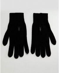 AllSaints - Fen Lambswool Blend Gloves In Black - Lyst