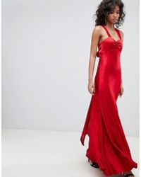 Ghost - V Neck Maxi Dress With Bow Back - Lyst