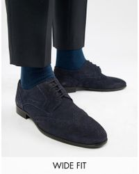 KG by Kurt Geiger - Kg By Kurt Geiger Wide Fit Brogues In Navy Suede - Lyst