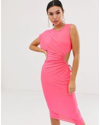 ASOS Платье Миди С Вырезом Сбоку - Розовый