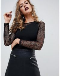 ASOS - Halloween Cobweb Lace Insert Body With Long Sleeves - Lyst