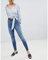 Pieces - Five Delly Slashed Knee High Waisted Skinny Jeans - Lyst