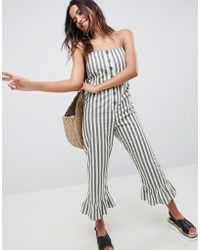 ASOS - Cotton Frill Hem Jumpsuit With Square Neck And Button Detail In Stripe - Lyst