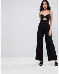 ASOS - Tailored Jumpsuit With Cut Out And Wide Leg - Lyst