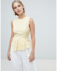 Warehouse - Sleeveless Blouse With Peplum Detail In Yellow Stripe - Lyst