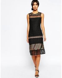 ASOS - Lace Column Dress With Embellishment - Lyst