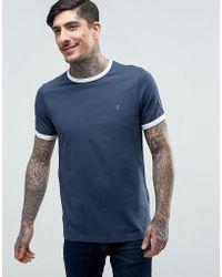 Farah - Groves Ringer T-shirt Slim Fit In Navy/ecru - Lyst