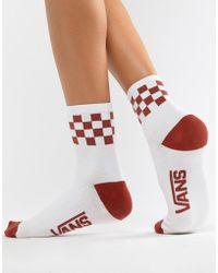 Vans - Orange Checkerboard Crew Socks - Lyst
