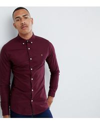 Farah - Sansfer Skinny Fit Oxford Shirt In Red - Lyst