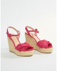 Mango - Fray Detail Espadrille Wedge In Pink - Lyst